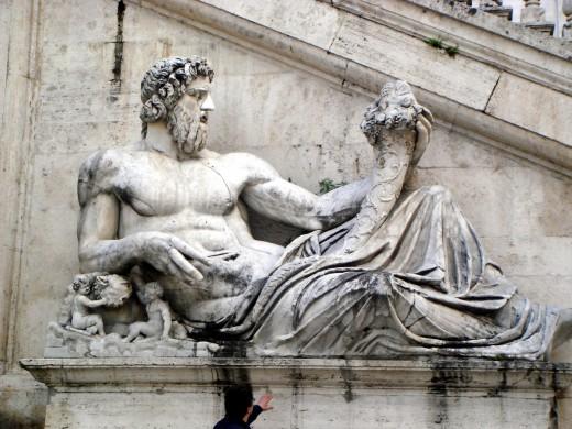 Personificatie van de Tiber op het Piazza del Campigdoglio