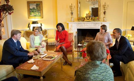 Willem-Alexander en Maxima op bezoek bij Amerikaans president Barack Obama en zijn vrouw Michelle