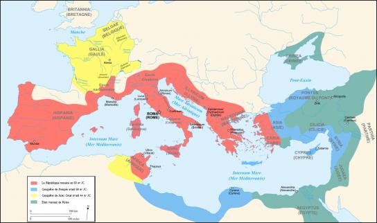 Kaart van het Romeinse Rijk na de veldtochten van Julius Caesar