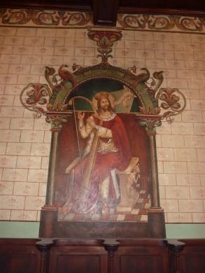 Koning David als componist en schrijver van de psalmen in de Clemenskerk te Merkelbeek (1901).