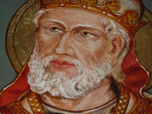 Detail van het medaillon met Clemens, de patroonheilige.