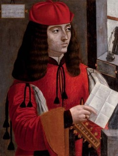"Afbeelding van ""Portrait of a gentleman in a red coat and cap holding a lute and a letter"""