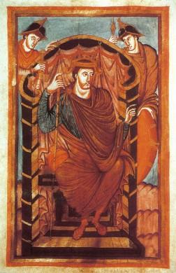Lotharius I, keizer van het West-Frankische Rijk, afgebeeld in een Middeleeuws gebedsboek