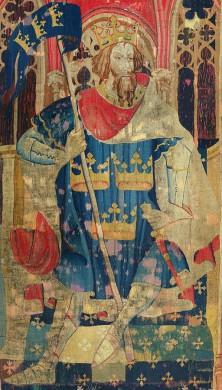 Figuur in rood blauw en wit