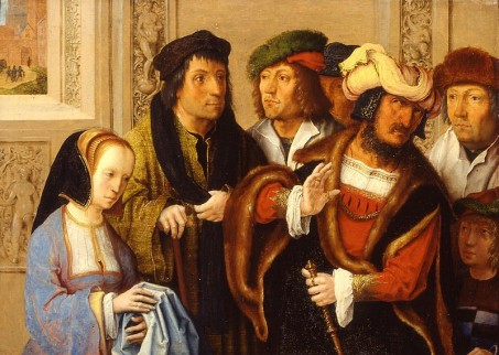 Afbeelding van schilderij Potiphar's wife shows her husband Joseph's cloak. In the background: Joseph being taken to prison.
