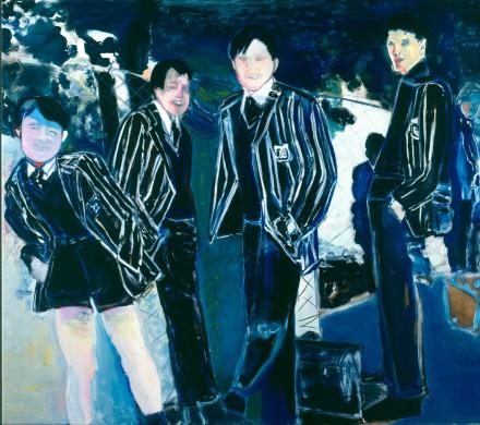 Achtergrond blauw, wit geel, jongens in streepjespak. zwart blauw, wit, zwart haar