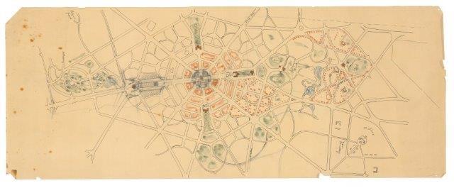 Ontwerptekening Wereld-hoofdstad, K.P.C. de Bazel, 1905