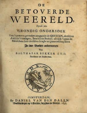 Titelblad van De Betoverde Weereld, door Balthasar Bekker