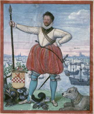 Man witte blouse, rode pofbroek. lans in rechter hand, achtergrond schepen en gebouwen, in blauw