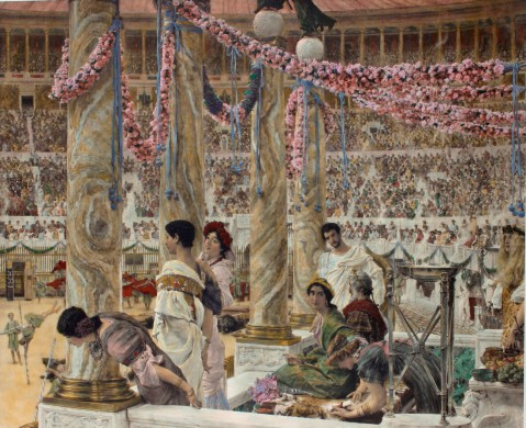 Caracalla and Geta - Bearfight in the Colosseum originele antieke prent naar Lourens Alma-tadema