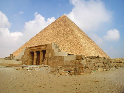 De pyramide van Cheops met dodentempel