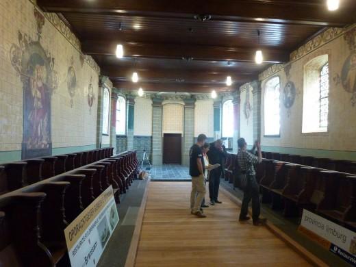 De schilderingen in de Clemenskerk te Oud-Merkelbeek van dom Romanus Jacobs (1901). Foto Marij Coenen 2014.