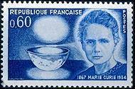 Frankrijk eerde Marie Curie in de jaren zestig met deze postzegel.