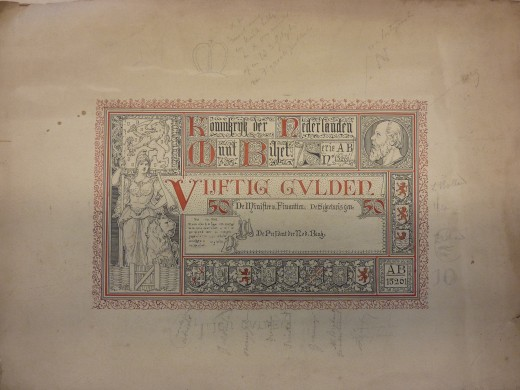 Ontwerp van een 50 gulden biljet van Pierre J.H. en /of Joseph Cuypers. Herkomst Joseph Cuypers Collectie Gemeentearchief Roermond. Foto Marij Coenen 2016.