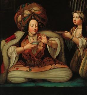 Een Turkse geniet van koffie, eerste helft 18e eeuw