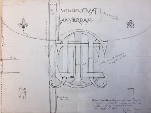 Ontwerp klink Vondelstraat Amsterdam met monogram Joseph Cuypers. Herkomst Joseph Cuypers Collectie Gemeentearchief Roermond. Foto Joyce van Cruchten, Cuypershuis 2018.