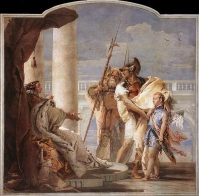 Aeneas stelt Cupido (vermomd als zijn zoon Ascanius) voor aan koningin Dido