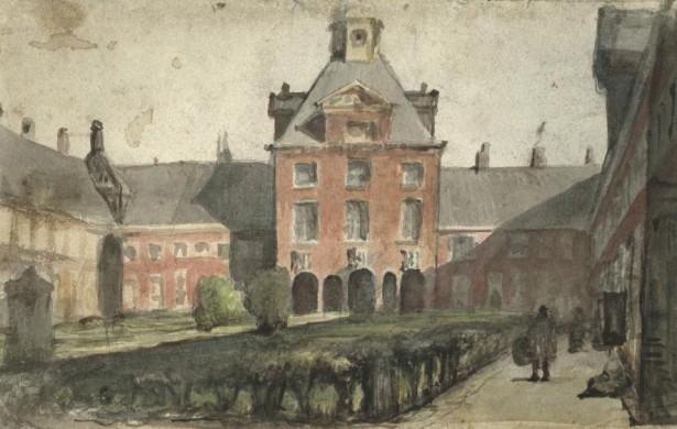 Schilderij van Hofje van Nieuwkoop, circa 1850