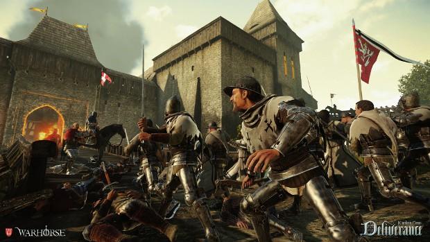 grijze, geharnaste mannen, voorzij aanzicht, groengrijs kasteeltoren, rode vlag, grijs gelige lucht