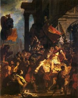 Foto van schilderij 'La justice de Trajan' door Eugène Delacroix