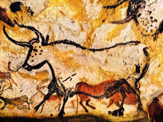 Beige, gele achtergrond, contouren van een stier, erdoorheen overlap dieren in roodbruin