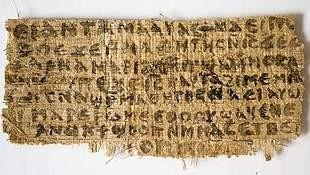 Het papyrusfragment dat de Amerikaanse historica Karen King in september presenteerde.