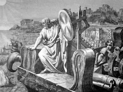 Volgens een middeleeuwse mythe zou de Griekse uitvinder Archimedes door fel zonlicht via een spiegel te laten weerkaatsen Romeinse oorlogsschepen in brand hebben gestoken.