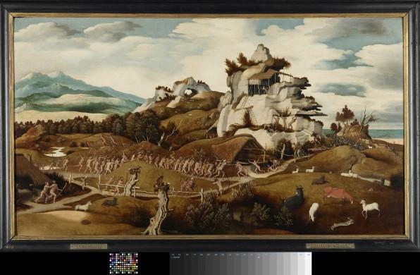 Schilderij met lijst groen bruin landschap met witte rotsen en wit en lichtblauwe lucht