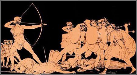 Antieke weergave van de heldhaftige Griekse strijder Odysseus tegen zijn vijanden.