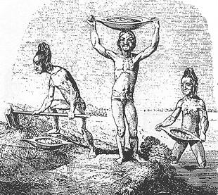 Taíno-indianen delven goud voor de Spanjaarden