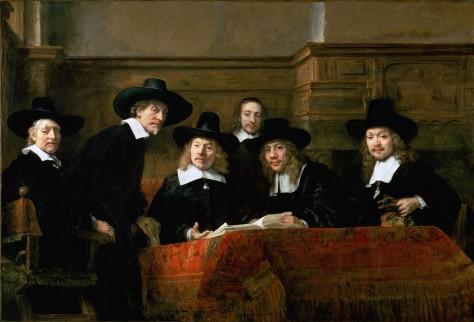 Foto van schilderij 'De Staalmeesters: het college van staalmeesters (waardijns) van het Amsterdamse lakenbereidersgilde'