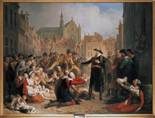 Burgemeester van der Werff biedt zijn degen aan het volk aan