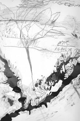 zwarte kronkelige rivier, schets bloem, krabbels die op geschreven tekst lijken,