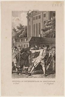 Tekening Overval op Spinoza. Uit: Historie der Joden, vervolg op Flavius Josephus; bij J. van Gulik, Amsterdam. 1784