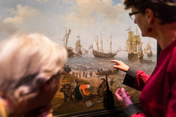 De Slag bij Gibraltar in Het Scheepvaartmuseum in Amsterdam.