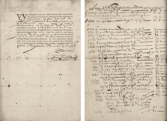 Oudst bewaarde kwitantie van een termijnbetaling aan een VOC-aandeel, gevonden in 2010 in het Westfries Archief te Hoorn