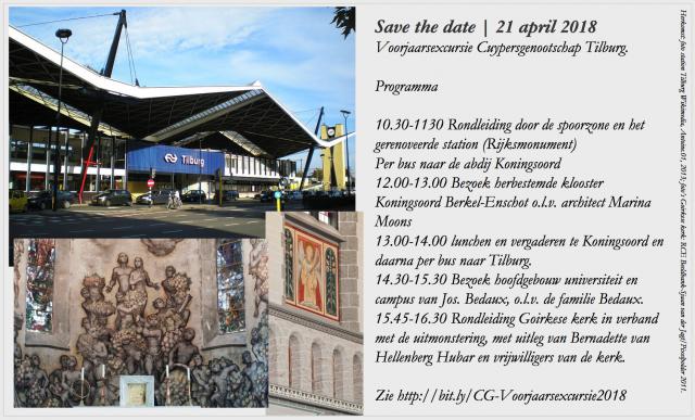 Save the date voor de voorjaarsexcursie van het Cuypersgenootschap naar Tilburg 21 april 2018. Collage bvhh.nu.