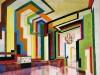 Zaal in vele kleuren, o.a. geel, blauw, rood, groen, zwart, wit
