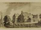 tekening van huize Lichtenvoorde met op achtergrond kerk